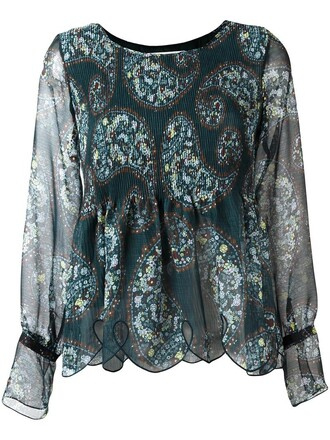 blouse women scalloped cotton print green paisley top