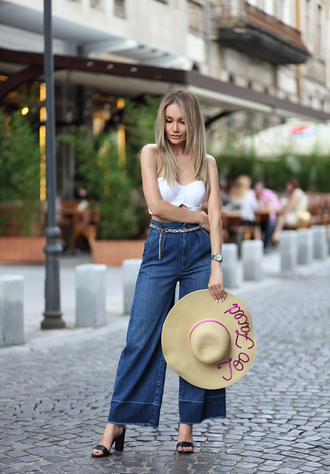 jeans tumblr blue jeans denim culottes denim culottes sandals sandal heels high heel sandals hat sun hat top tube top