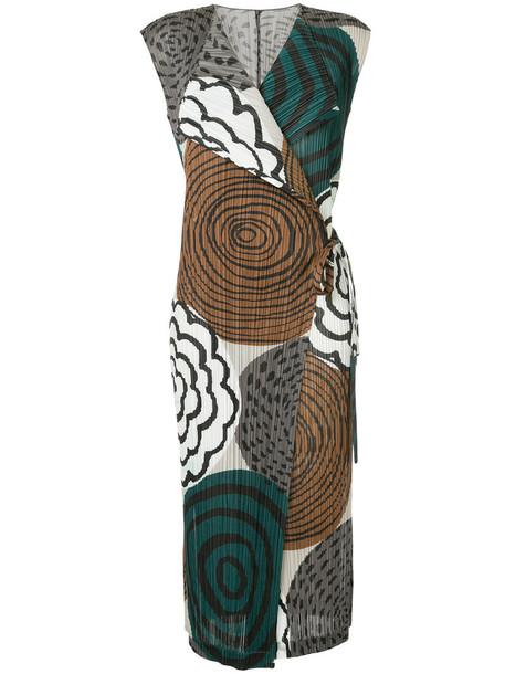 Pleats Please By Issey Miyake dress women grey metallic