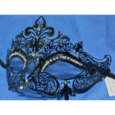 Laser cut metal venetian mask black with crystals, wedding cake toppers, bridal hair accessories, wedding supplies #1 wedding shop