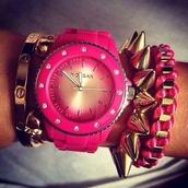 jewels,pink,horloge,gold