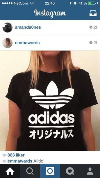 t-shirt adidas black white t-shirt t-shirt fashion chinese