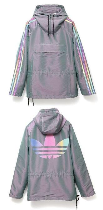 jacket adidas adidas jacket winbreakers adidas originals holographic grey hoodie windbreaker sportswear parka rad purple rainbow multicolor tumblr tumblr aesthetic aesthetic tumblr adidas coat womens parka stripped arms gray hoodie