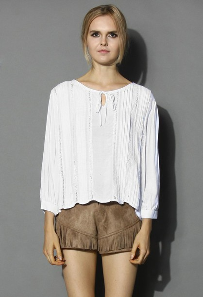 top chicwish lace trimmed top white cotton to fashion and casual