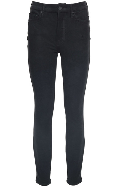 Mother The Looker Faux-suede Texture Jeans in black