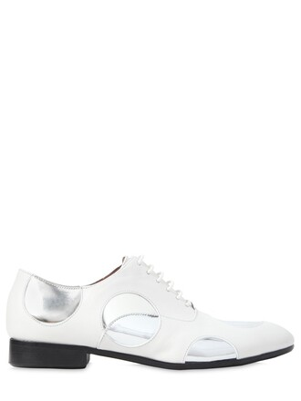 shoes lace-up shoes lace leather silver white