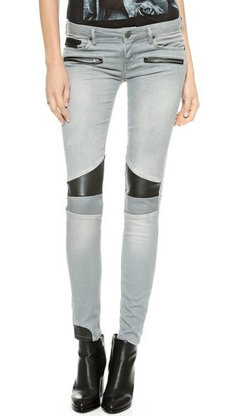 jeans patchwork leather grey