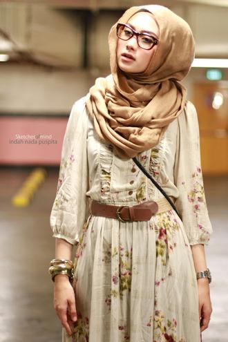 scarf hijab brown dress