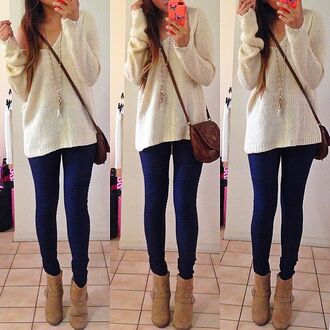 sweater white sweater sling bag ankle boots bag wedges shoes jeans jewelry blouse