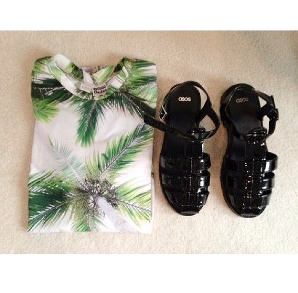 t-shirt palm tree print