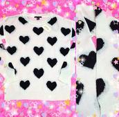 sweater,cute,barbie,beautiful,fashion,kawaii,black heart,tumblr,instagram,pullover,heart,heart sweater
