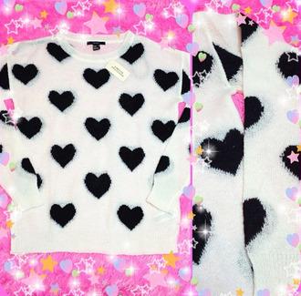 sweater cute barbie beautiful fashion kawaii black heart tumblr instagram pullover heart heart sweater