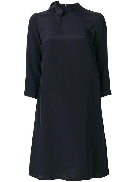 Goat dress shift dress women blue silk
