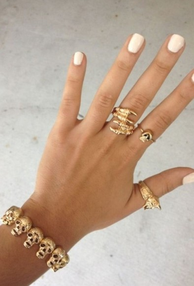gold skull jewels rings bracelet claws jewelry