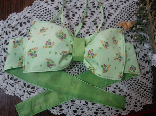 top bow crop top bow cropped top floral crop top green crop top bandeau bandeau swimsuit swimwear handmade fashion cute cute crop top