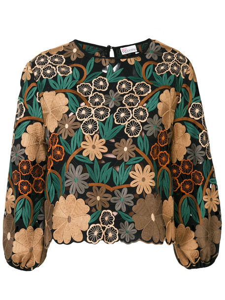 Red Valentino - embroidered flower blouse - women - Polyester - 44, Polyester