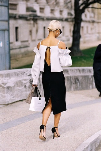 le fashion image blogger sunglasses top dress bag open back white top ruffle black skirt black sandals sandal heels mini bag nude bag backless