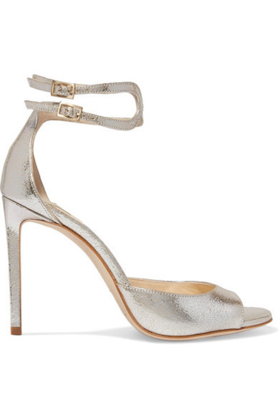 Jimmy Choo metallic 100 sandals leather sandals silver leather shoes