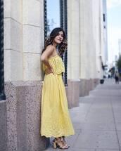 dress,tumblr,lace dress,maxi dress,yellow,yellow dress,sandals,sandal heels,high heel sandals,scarf,chictalk,blogger,jewels,midi dress,summer dress,summer outfits