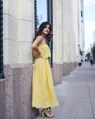 dress tumblr lace dress maxi dress yellow yellow dress sandals sandal heels high heel sandals scarf chictalk blogger jewels midi dress summer dress summer outfits