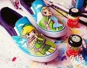 shoes,geek,zelda,legend of zelda,colorful,wind walker,wind waker,video game