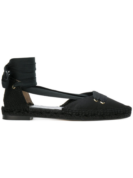 women espadrilles lace leather black satin shoes