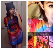 shirt,acacia brinley,top,t-shirt,tie dye,color/pattern,blue,red,girl,cool,summer,clothes,dope