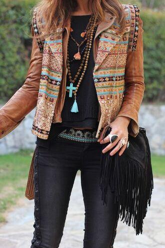 jacket boho jacket brown jacket printed jacket top black top pants black pants bag fringed bag black bag ring statement ring boho boho jewelry