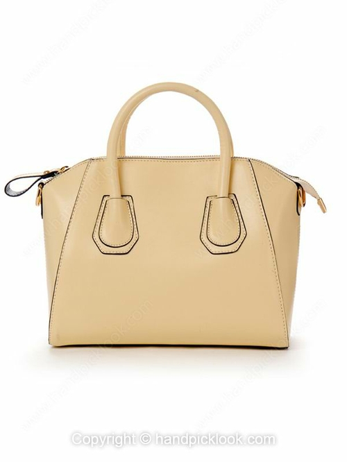 Beige PU Zipper Fashion Handbag - HandpickLook.com