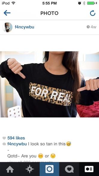 cheetah print sweater/sweatshirt black shirt