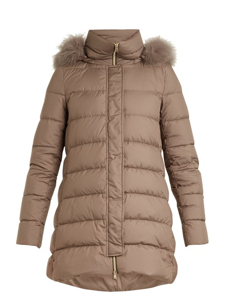 Herno jacket down jacket fur fox quilted grey