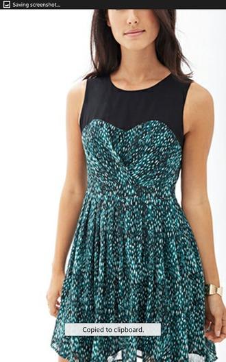 dress turquoise dress black forever 21 summer dress pretty dress!