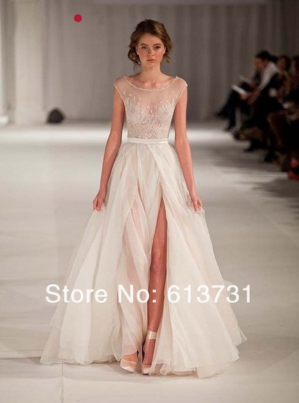 prom dress ivory wedding dress elegant wedding dress 2014 wedding gowns applique dresses ivory wedding dress split dress women's fashion scoop neck sexy 2014 fashion trends evening dress