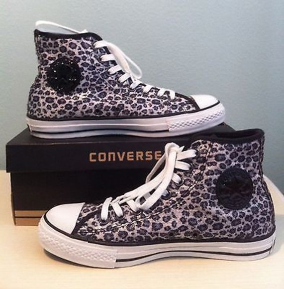sequin shoes leopard converse
