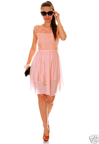 Sleeveless Lined See Through Sundress Lace Top Braided Belt MADE IN ITALY 775   Amazing Shoes UK