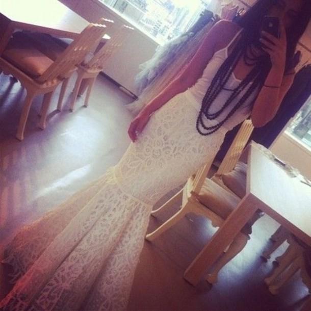 Skirt: mermaid skirt, white skirt, wjite dress, mermaid ...  Skirt: mermaid ...