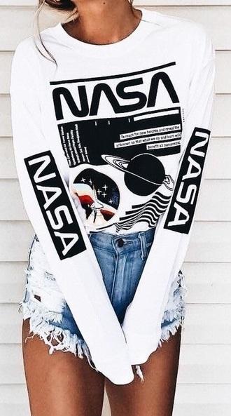 shirt white nasa long sleeves space