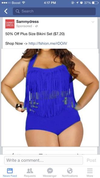 swimwear blue swimwear fringe bikini plus size swimwear
