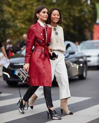 coat tumblr red coat leather leather coat pants black pants streetstyle culottes song of style knit boots