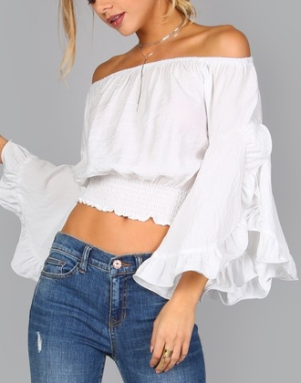 blouse girly girl crop tops crop cropped off the shoulder flowy white