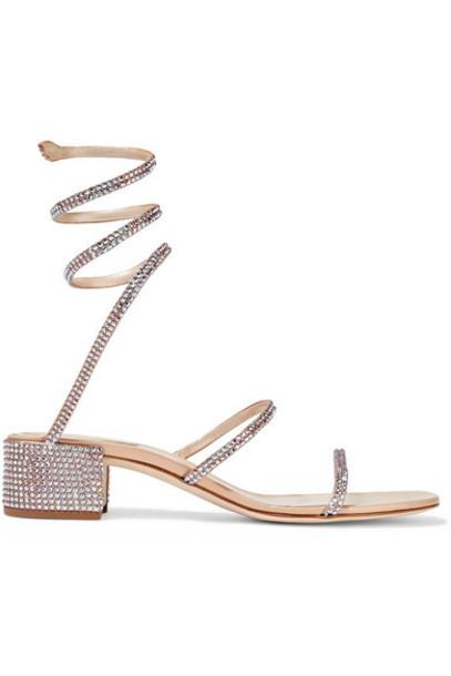 René Caovilla - Cleo Crystal-embellished Satin Sandals - Beige
