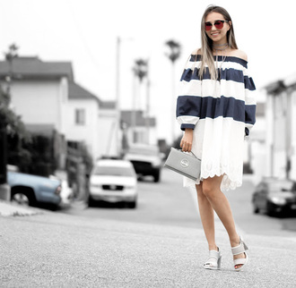 different cands blogger dress bag shoes sunglasses striped dress summer dress summer outfits long sleeves clutch grey clutch sandals sandal heels high heel sandals off the shoulder off the shoulder dress white sandals puffed sleeves