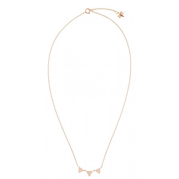 """Colgante """"banderolas"""" plata 925 y oro rosa con circonitas blancas"""