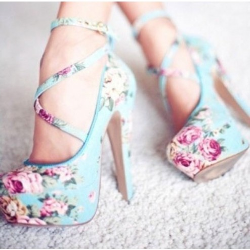 Elegant Blue Coppy leather Round Toe Flower Print High Heel Shoes - Heels