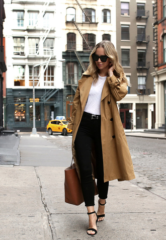 coat tumblr trench coat camel camel coat top white top denim jeans black jeans skinny jeans sandals sandal heels high heel sandals bag tote bag sunglasses