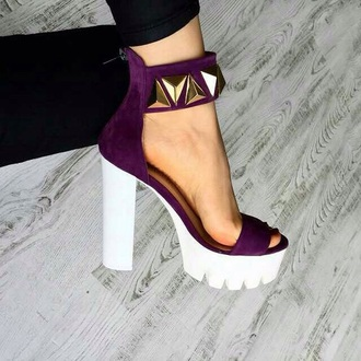 shoes chunky heels velvet studed chunky heels purple shoes purple purple heels summer heels gold tumblr white heels diva summer white glamour size 11 heels amazing high heels cute high heels