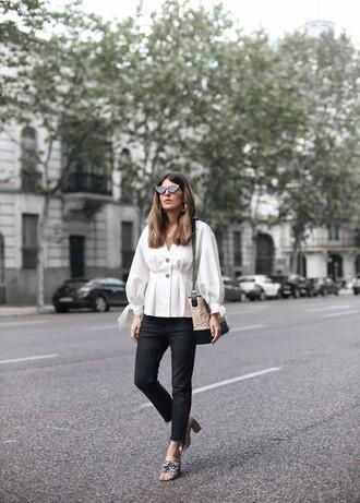 top white top shirt white shirt pants black pants sandals bag sunglasses