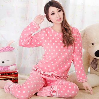 pajamas pink polka dots