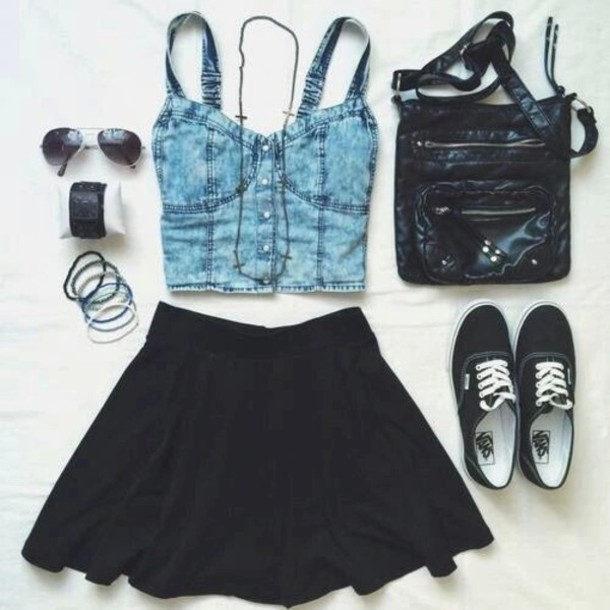 top, skater skirt, black vans, jeans top, crop tops ...