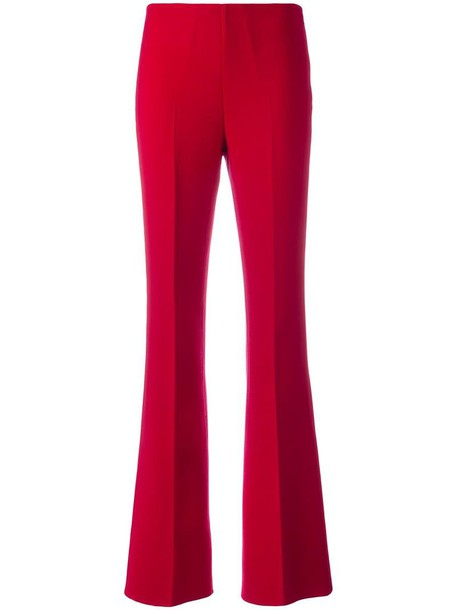 pleated women spandex wool red pants